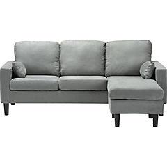 Seccional 194x75/133x83 cm gris