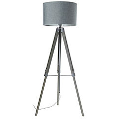 Lámpara de pie metal / madera 1 luz E27