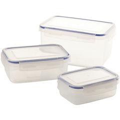 Set de contenedores de alimentos plástico 3 unidades 13x21x10,5 cm