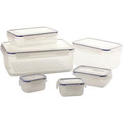 Set de 6 contenedores de alimentos plástico 22,5x31,5x23 cm