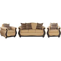 Juego de Living sofá 3 cuerpos + 2 sillones oro