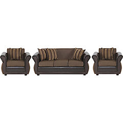 Juego de Living sofá 3 cuerpos café + 2 sillones café