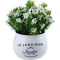 Arreglo de flores artificiales con base cerámica blanco