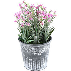 Arreglo de flores artificiales plástico con base de metal