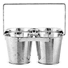 Set de maceteros circular metal 10x23 cm 4 unidades con asa Gris
