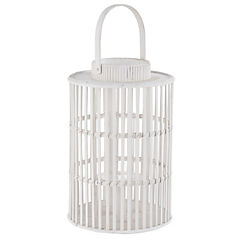 Linterna decorativa bamboo 26,5x40 cm Blanco