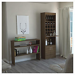 Combo mueble de bar + arrimo madera Amaretto