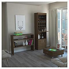 Combo mueble de bar + arrimo + mesa de centro madera Amaretto