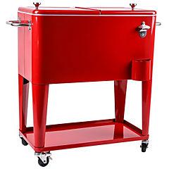 Cooler con ruedas 60 litros rojo