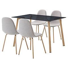 Juego de comedor 4 sillas vidrio gris