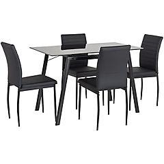 Juego de comedor 4 sillas vidrio Negro