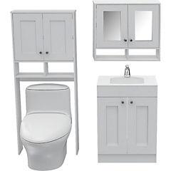 Combo de botiquín + optimizador de baño + mueble para lavamanos blanco