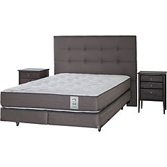 Box Spring 2 Plazas Base Dividida + Muebles Issey