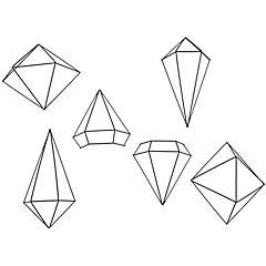 Set de 6 diamantes para pared prisma negro - medidas de 16 a 25 cm cada uno