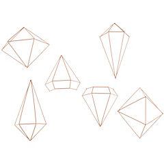 Set de 6 diamantes para pared prisma cobre - medidas de 16 a 25 cm cada uno