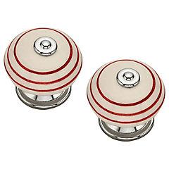 Set de perillas porcelana 40 mm 2 unidades rojo