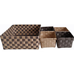 Set de 5 canastos 23x2/10x2 cm chocolate-beige