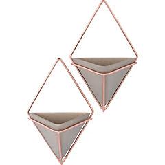 Set 2 macetas pared con marco metal gris
