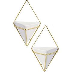 Set 2 macetas pared con marco metal blanco