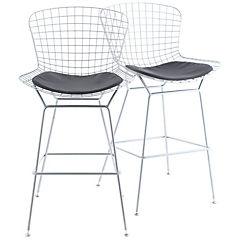 Set de 2 sillas bar plata 54x57x102 cm