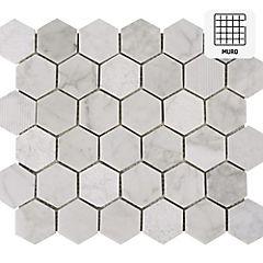 Malla 30x30 cm hexagonal Carrara mix