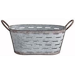 Macetero de metal ovalado 37 x 19 x 16 cm