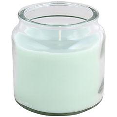 Jarro de vidrio con vela 10x10 cm colores surtidos