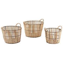 Set de 3 cestas redondas caña natural