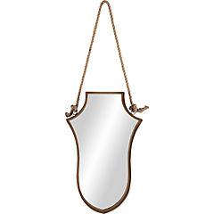 Espejo metálico forma escudo con cuerda 43,5x70 cm