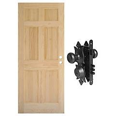 Combo Puerta pino 6 paneles 80x200 cm + Cerradura acceso colonial
