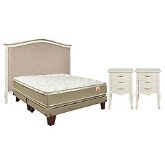 Combo Box cotton + 2 Veladores + Respaldo cama