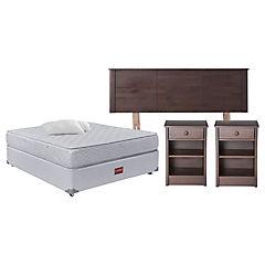 Combo Box Americano APOLO 2 plazas con almohada + Respaldo + Veladores