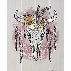 Cuadro madera cabeza bufalo con flores 40x50 cm