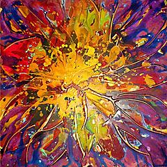 Oleo abstracto super nova 80x80 cm
