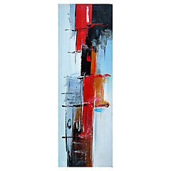 Oleo abstracto azul rojo 120x40cm