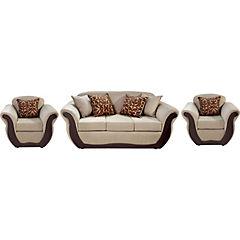 Juego de Living sofá 3 cuerpos beige + 2 sillones beige