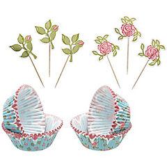 Set moldes de papel + adornos flores 48 uds. sweetly does it