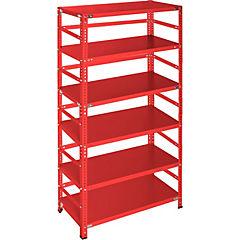 Estantería rojo con retenedores y 6 bandejas 90x50x200 cm