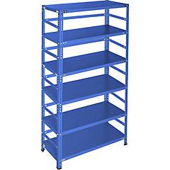 Estantería azul con retenedores y 6 bandejas 90x30x200 cm