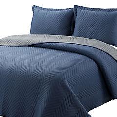 Quilt jersey azul/gris 1,5 plazas