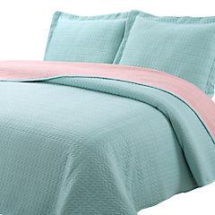 Quilt jersey rosa/aqua 2 plazas