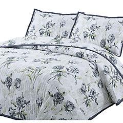 Quilt Rosas gris 1,5 plazas