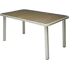 Mesa rectangular 6 personas de aluminio blanca