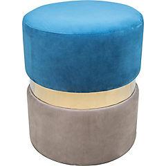 Pouff ribete azul y amarillo 40x40x45 cm