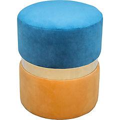 Pouff ribete azul y gris 40x40x45 cm