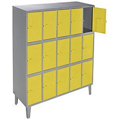 Lockers metálico 5 cuerpos 15 puertas color amarillo