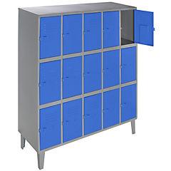 Lockers metálico 5 cuerpos 15 puertas color azul