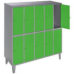 Lockers metálico 5 cuerpos 10 puertas color verde