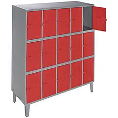 Lockers metálico 5 cuerpos 15 puertas color rojo
