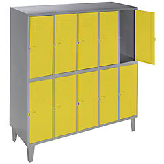 Lockers metálico 5 cuerpos 10 puertas color amarillo